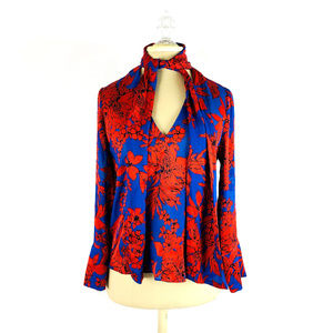 alice + olivia Floral Blouse with Neck Tie Scarf